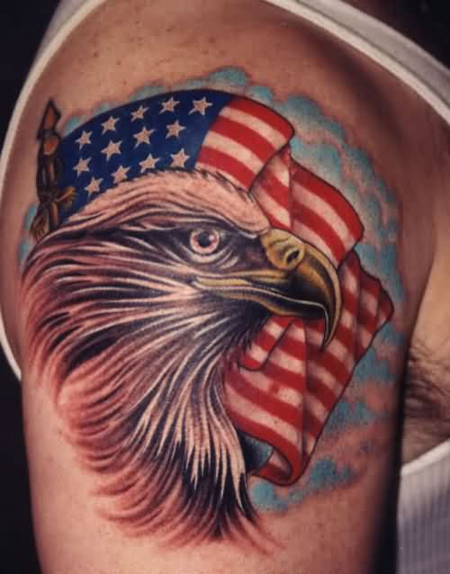 Blue Clouds Patriotic Flag And Eagle Tattoos