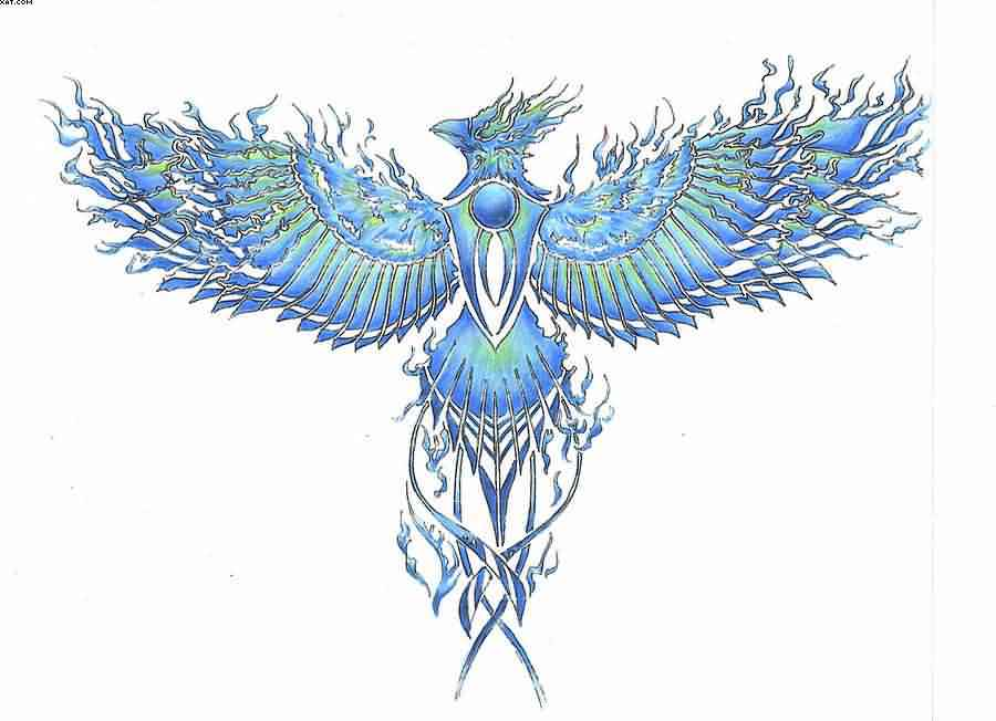 Blue Flames From Phoenix Tattoo Design