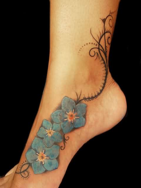 Blue Flower Tattoos On Inner Foot