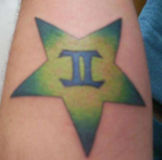 Blue Gemini Symbol In Star Tattoo
