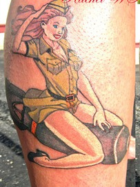 Bomb Pinup Tattoo On Leg