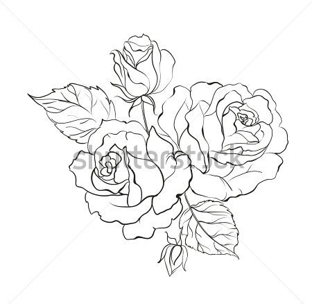 Bouquet Of Roses Isolated On White Background Tattoo Design