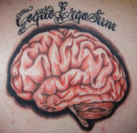 Brain With Black Shading Tattoo