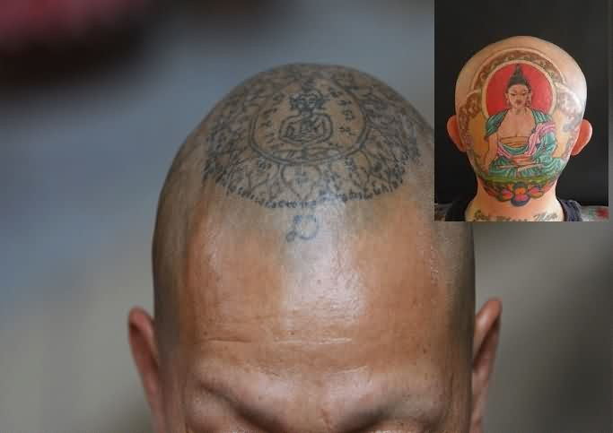 Buddhist Symbol Tattoos On Head