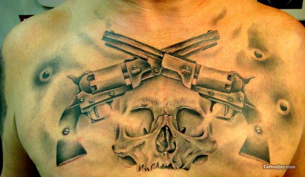 Bulletholes Pistols And Skull Tattoos On Chest