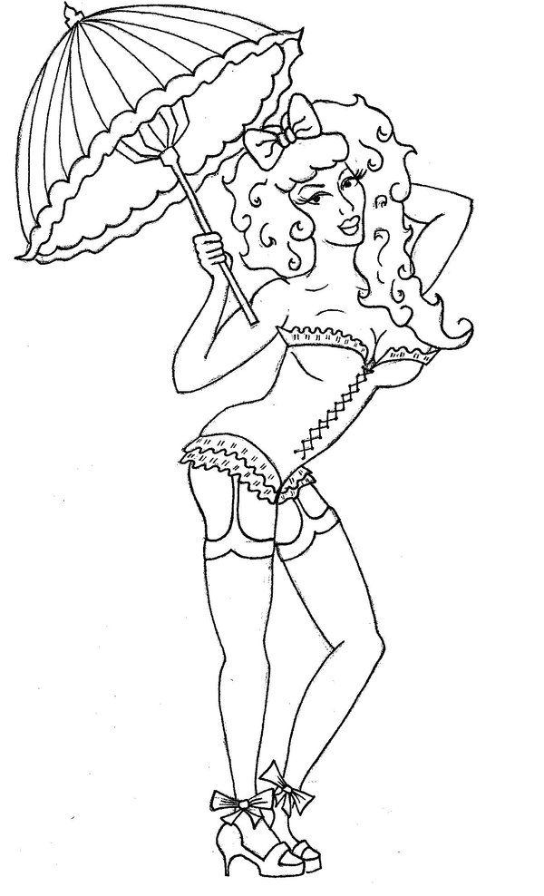 Burlesque Pin Up Girl Tattoo Sample