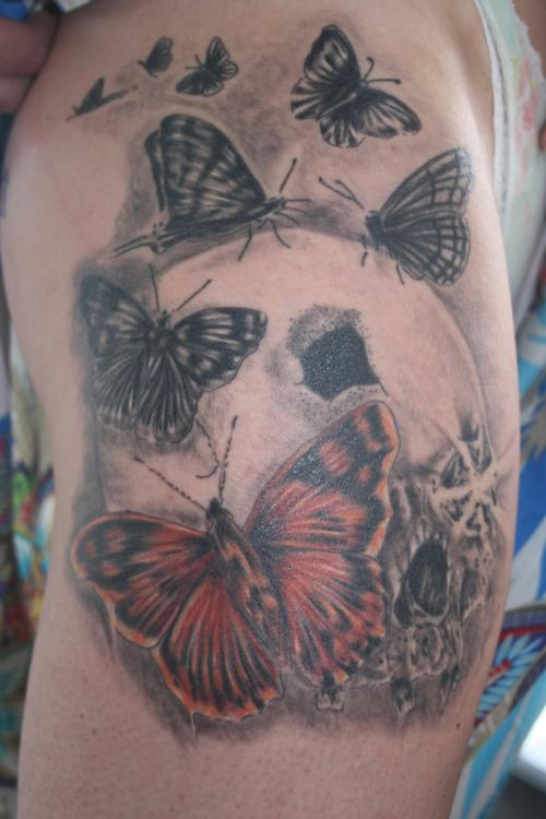 Butterflies On Skull Tattoos