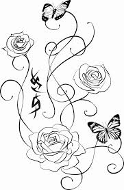 Butterflies Rose Swirls Tattoos Sample