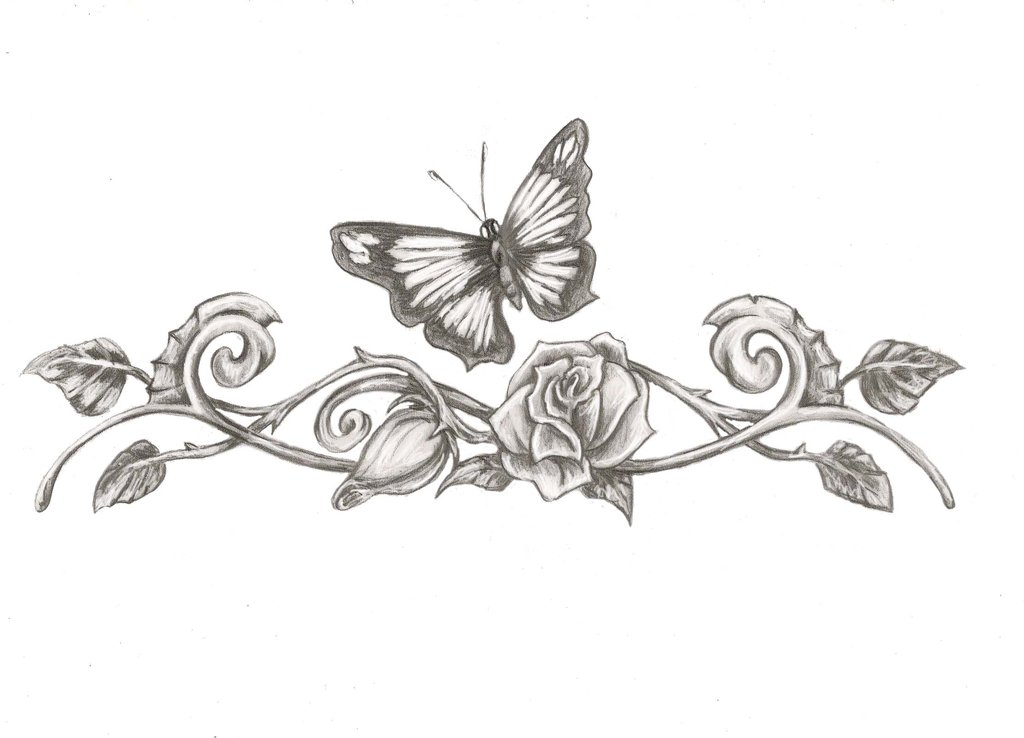 Butterfly And Rose Vine Tattoo Designs For Lowerback