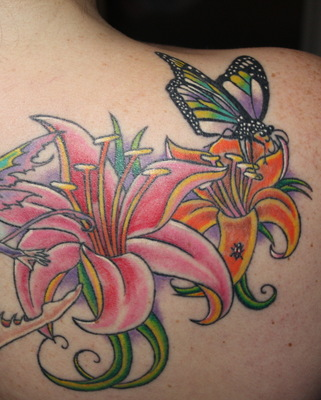Butterfly On Flowers Tattoos Behind Right Shoulder