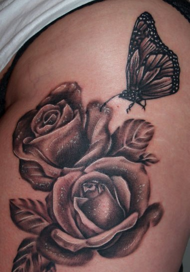Butterfly On Grey Roses Tattoos