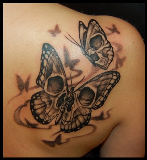 Butterfly Skull Tattoos Behind Shoulder