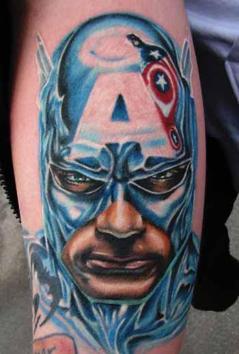 Captain America Portrait Patriotic Tattoo