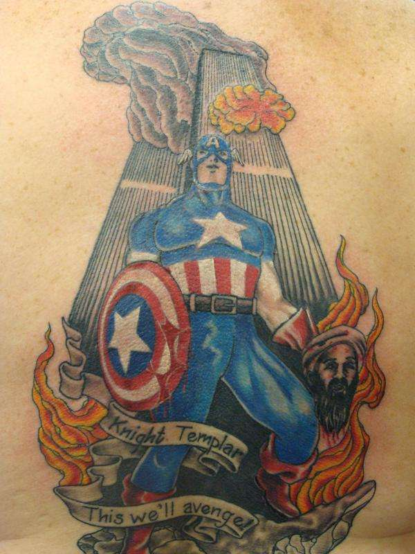 Captain American And Flaming Laden Tattoos