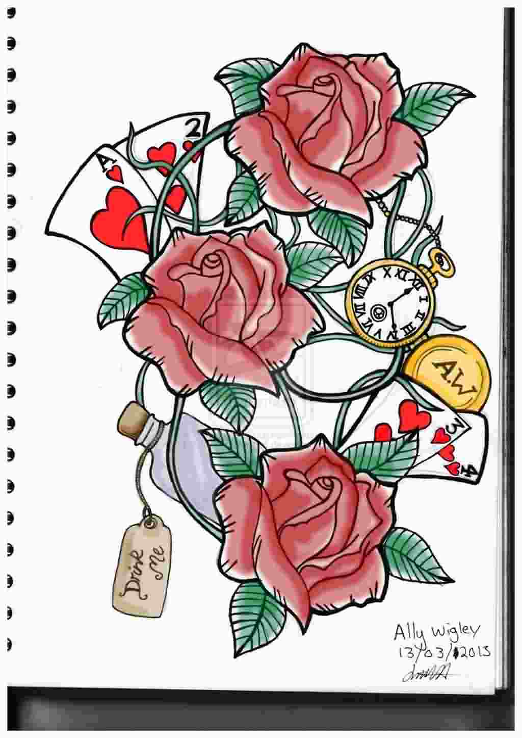 Cards Red Roses And Pocket Watch Tattoos Sample