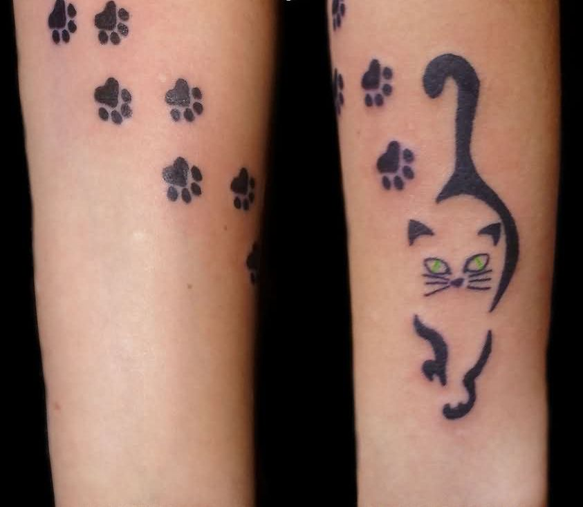 Cat And Paw Print Tattoos On Arm