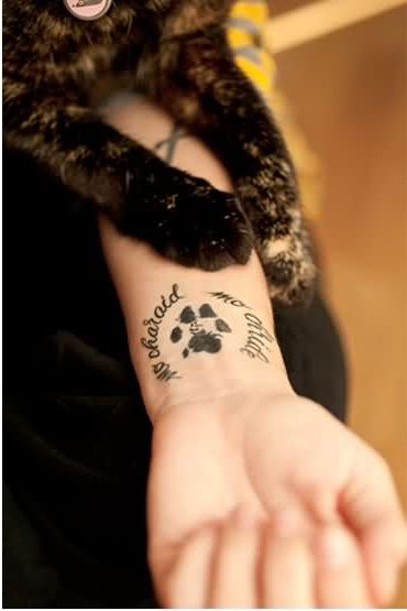 Cat Paw Print Wrist Tattoos