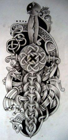 Celtic Dagger And Bird Tattoo Design