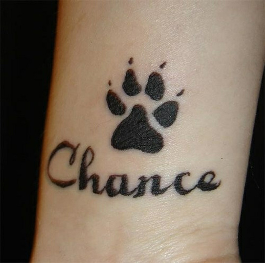 Chance Paw Tattoo On Inner Wrist