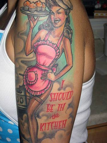 Chef Pin Up Girl Winking Eye Tattoo On Arm
