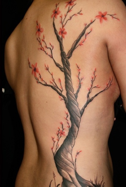 Cherry Blossom Tree Tattoo On Side Back