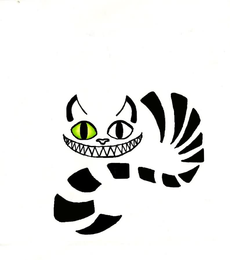 Cheshire Cat With Left Green Eye Tattoo Design