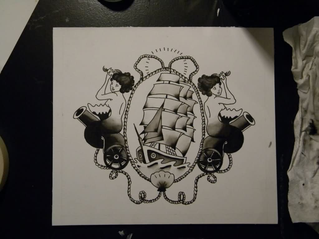Chestpiece Tattoo Sketch