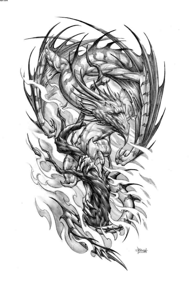 Chinese Dragon And Phoenix Tattoo Design