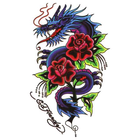 Chinese Dragon And Roses Tattoos Design