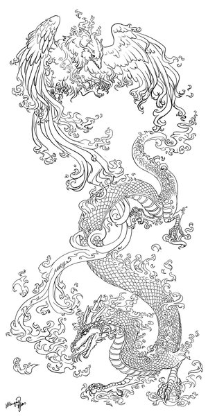Chinese Dragon Phoenix Tattoos Sample
