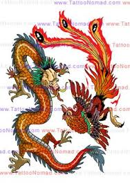 Chinese Dragon Vs Phoenix Tattoo Design