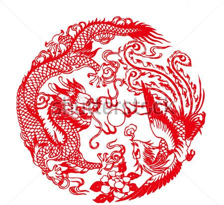 Chinese Paper Cutting Auspicious Dragon And Phoenix Tattoo Pattern
