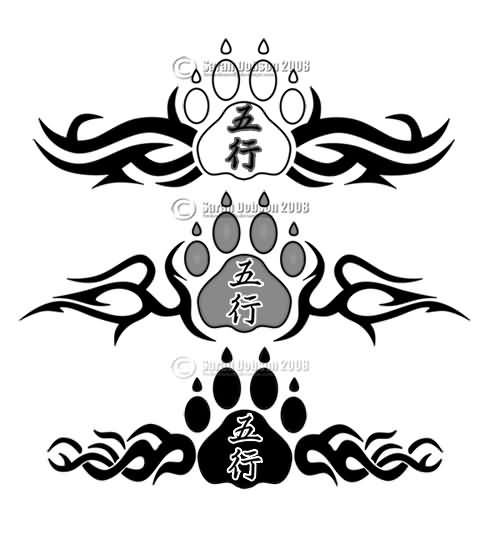 Chinese Paw Print And Tribal Tattoo Designs For Lowerback