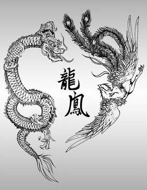 Chinese Phoenix Dragon And Symbols Tattoos Flash