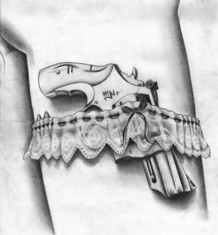 Chinese Pistol Lace Garter Belt Tattoo Sketch