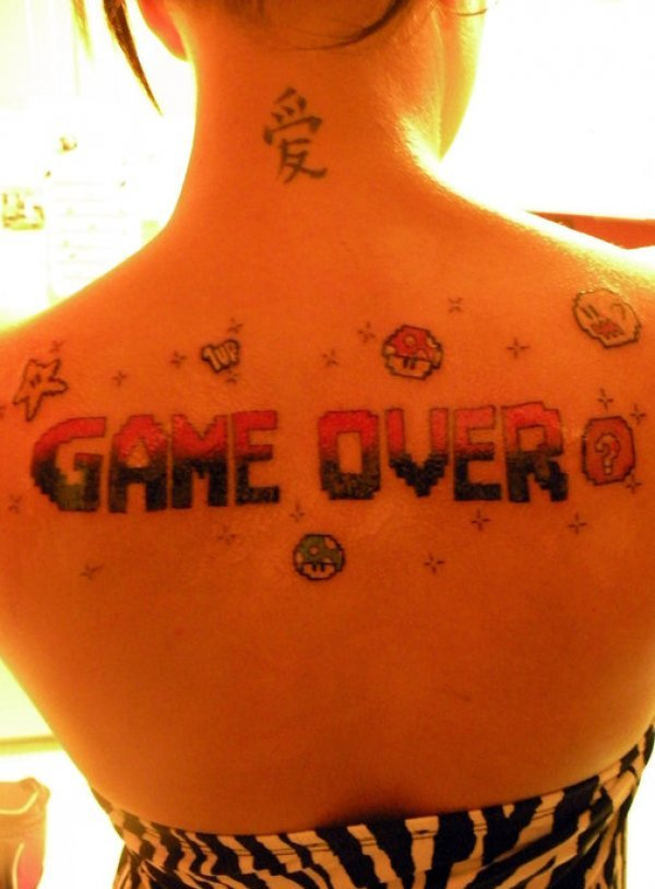 Chinese Symbol And Video Game Tattoos