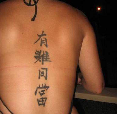 Chinese Symbol Tattoos In Center Of Back