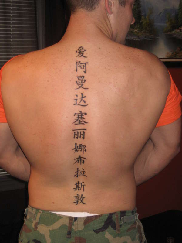 Chinese Symbol Tattoos On The Spine