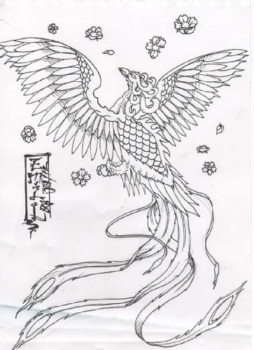 Chinese Symbols Phoenix And Blossoms Tattoo Designs