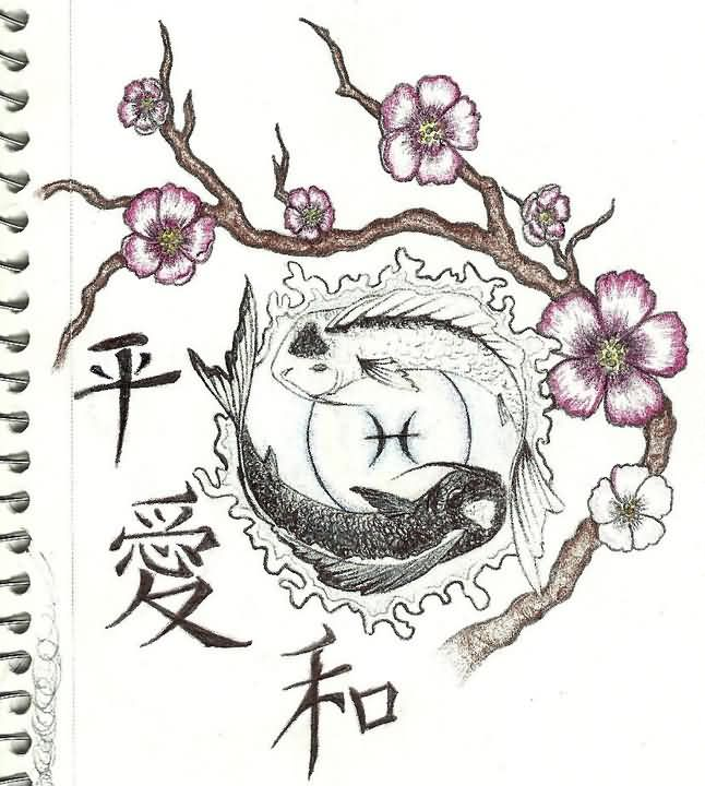Chinese Symbols Pisces And Blossom Branch Tattoo Sketch