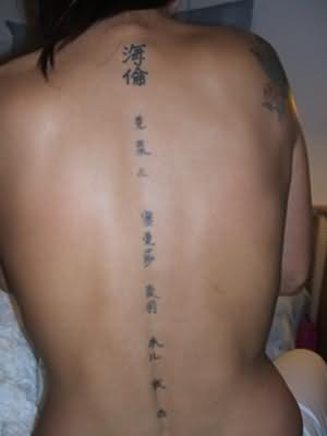 Chinese Symbols Writing Tattoo On Backside