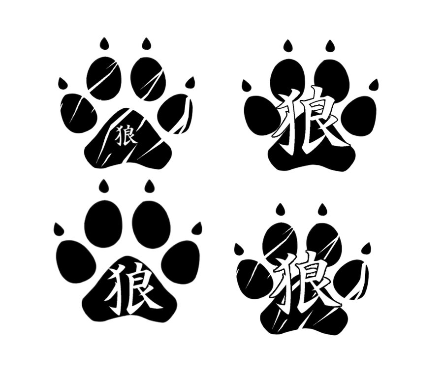Chinese Wolf Paw Tattoos