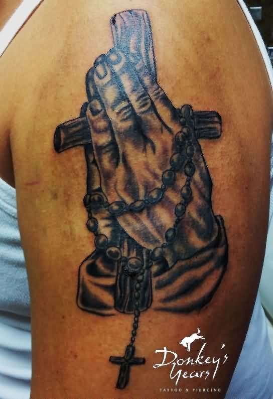 Christ Cross And Praying Hand Tattoos On Biceps