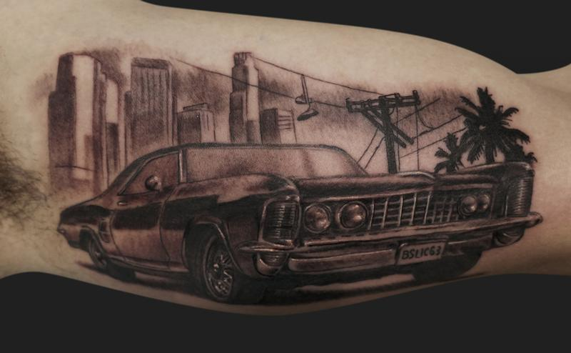 City Buildings Car And Tree Tattoos On Arm