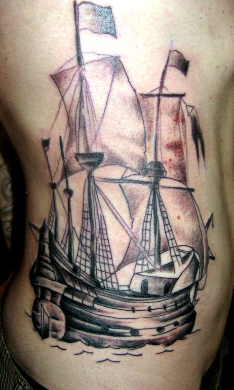 Classic Grey Ink Ship Tattoo On Ribs