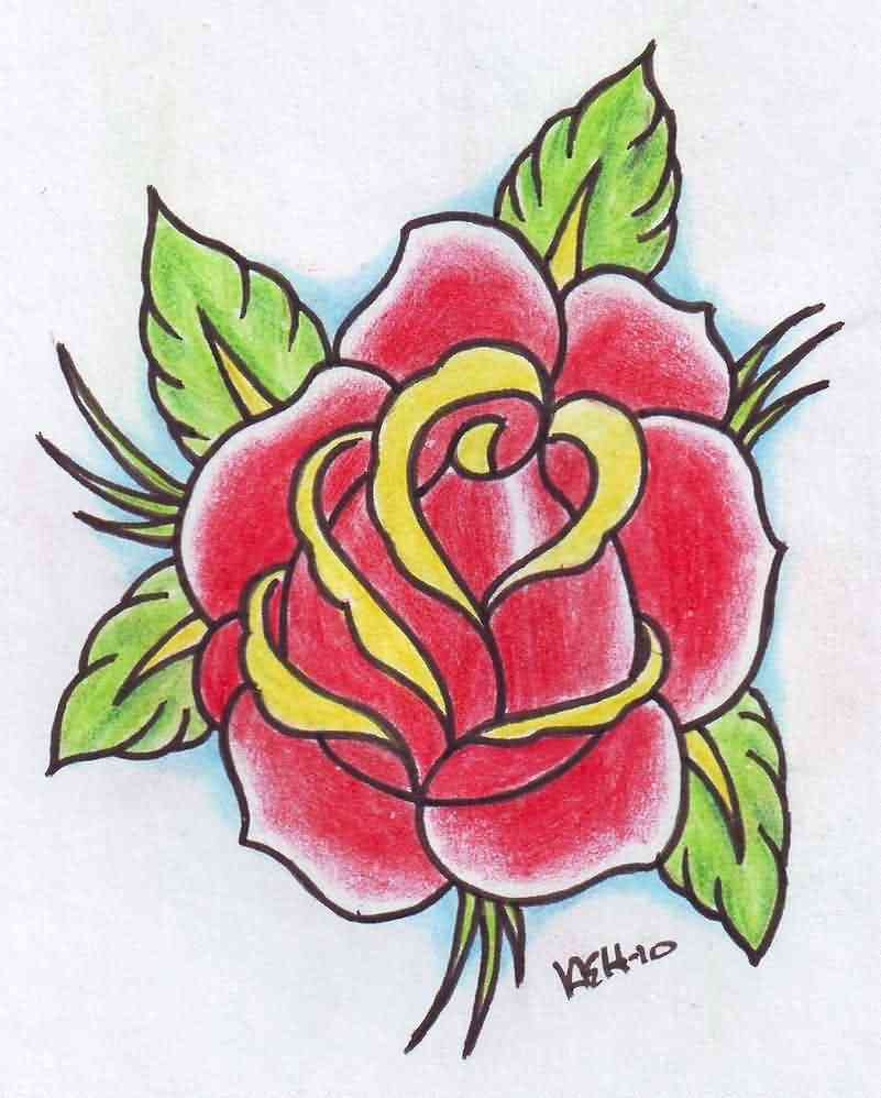 Classic Old School Rose Tattoo Design