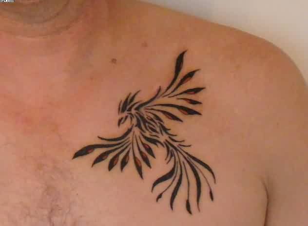 Clean Phoenix Tribal Tattoo On Chest