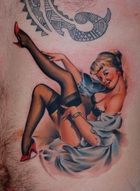 Clean Pin Up Girl Tattoo On Chest