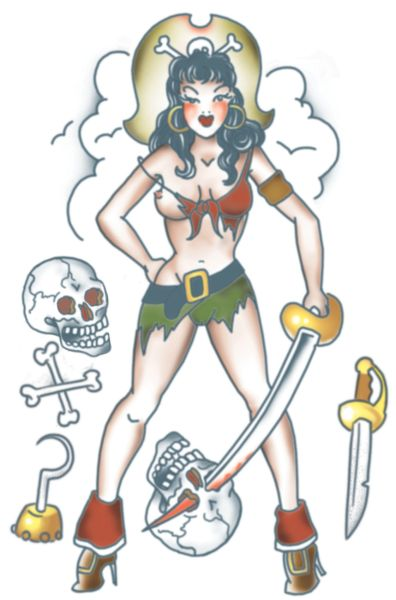 Clouds And Pirate Pinup Tattoo Designs