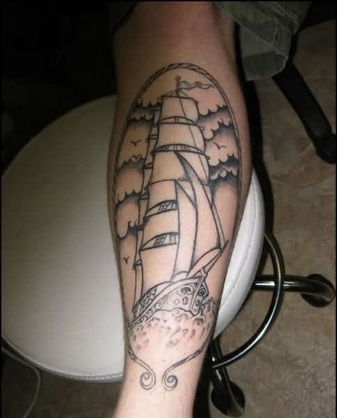 Clouds Birds And Pirate Ship Tattoos